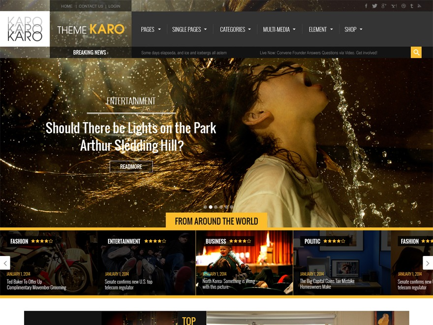 Karo WordPress magazine theme