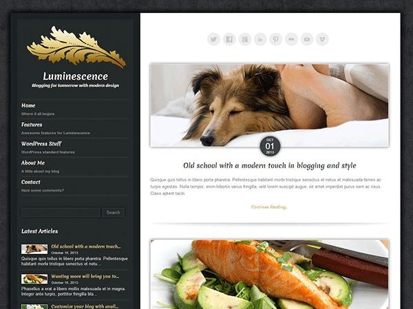 Luminescence WordPress blog theme