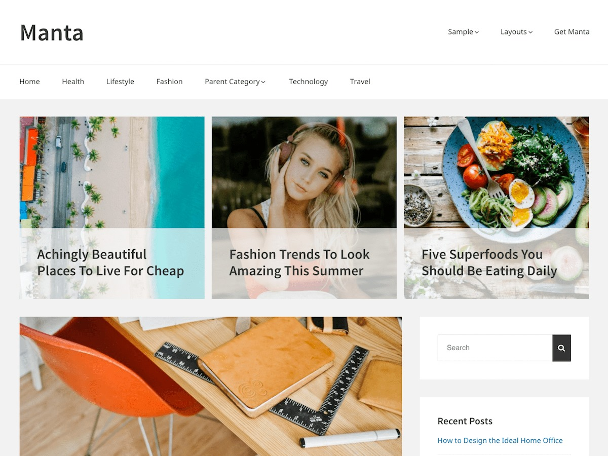 Manta WordPress theme free download