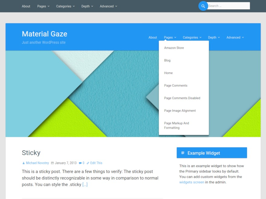Material Gaze WordPress page template