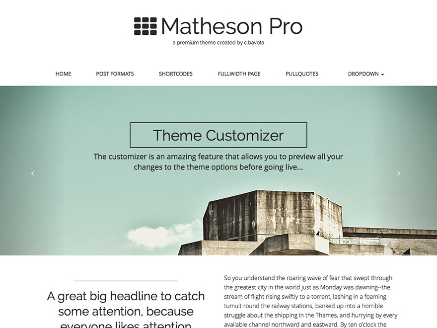 Matheson Pro WordPress video theme