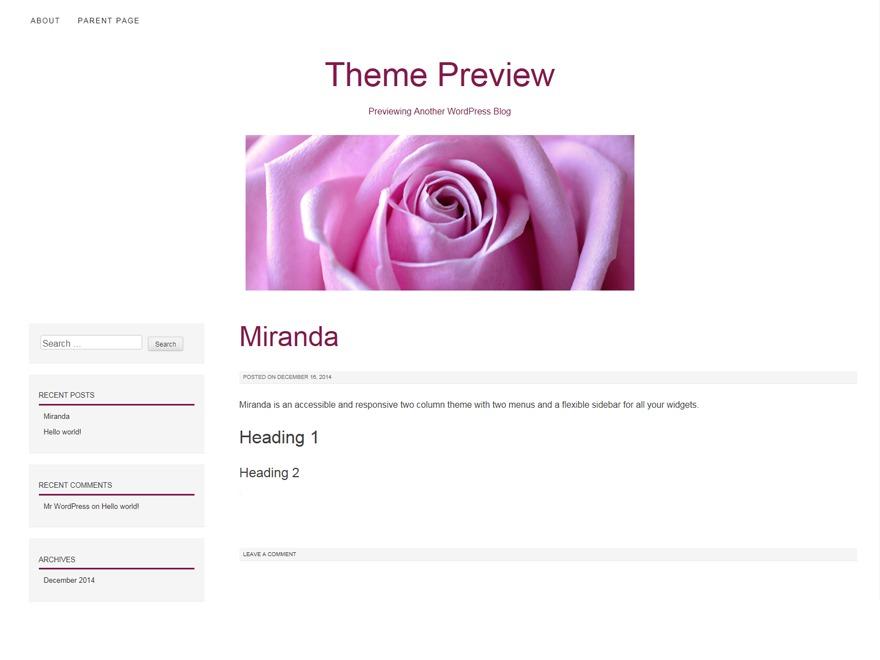 Miranda WordPress template free