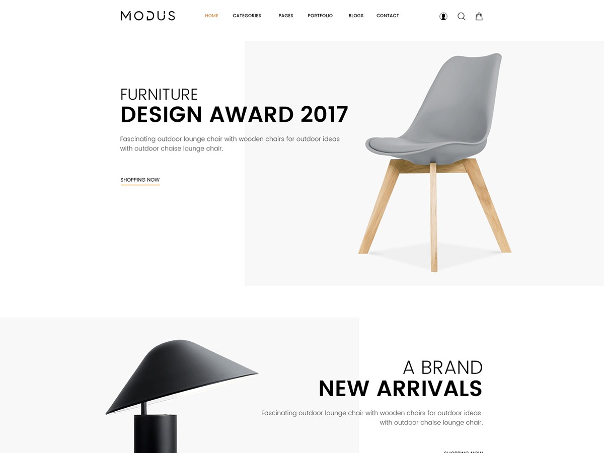 MODUS WordPress page template