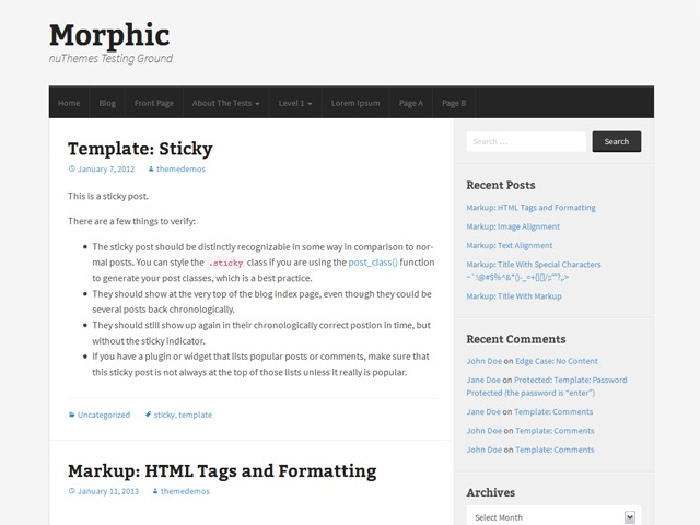 Morphic WordPress blog theme