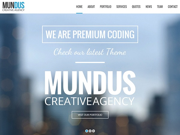 Mundus WordPress theme design