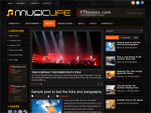 MusicLife WordPress blog theme