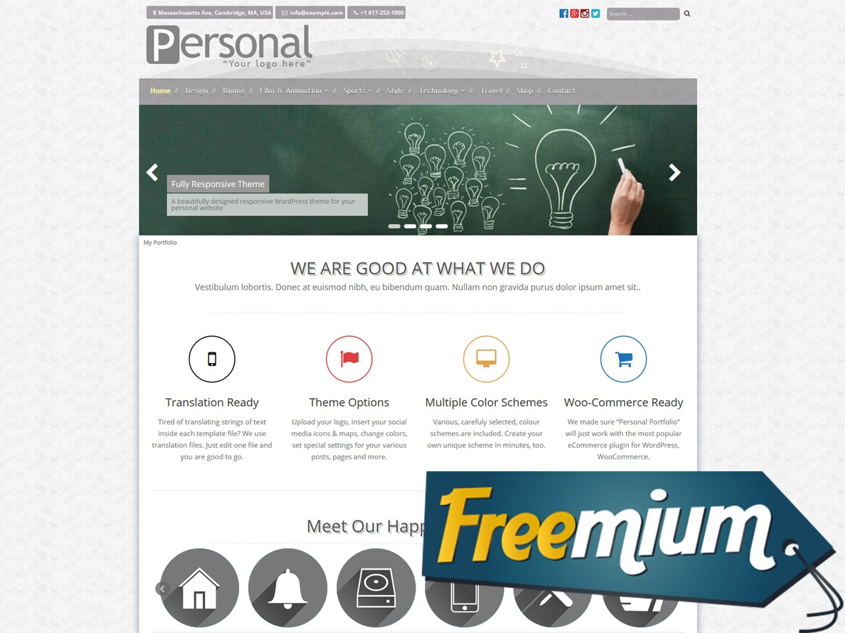 Personal Portfolio Freemium WordPress ecommerce template