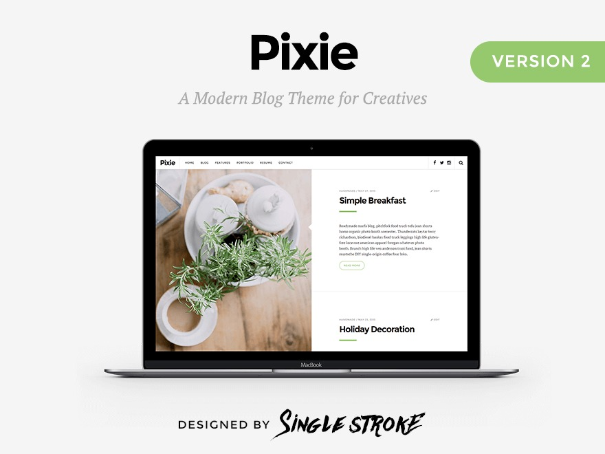 Pixie WordPress blog template
