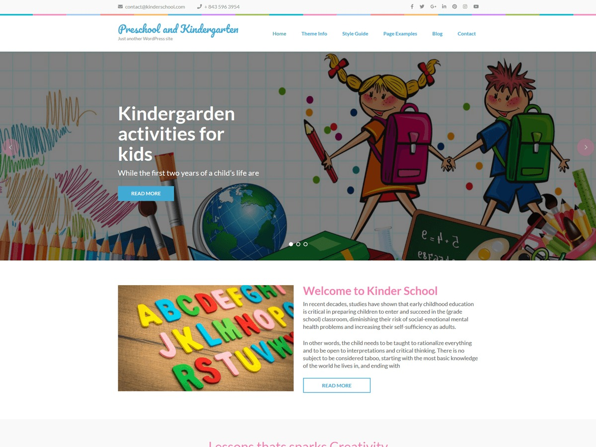 Preschool and Kindergarten WordPress template for business