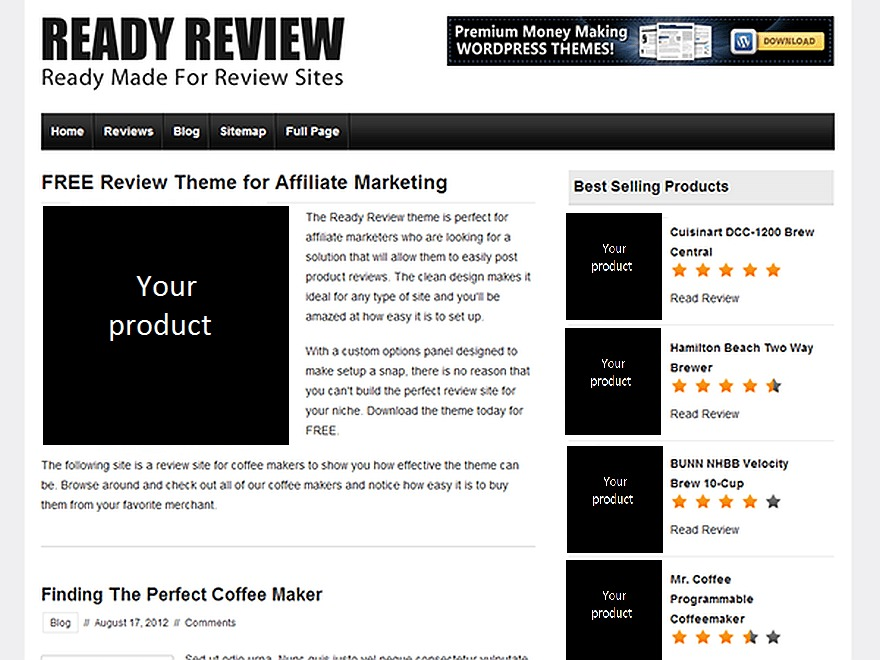 Ready Review free WP theme