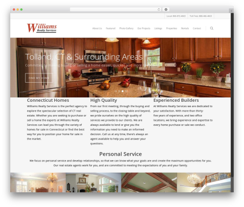 Salient WordPress theme design - williamsrealtyct.com