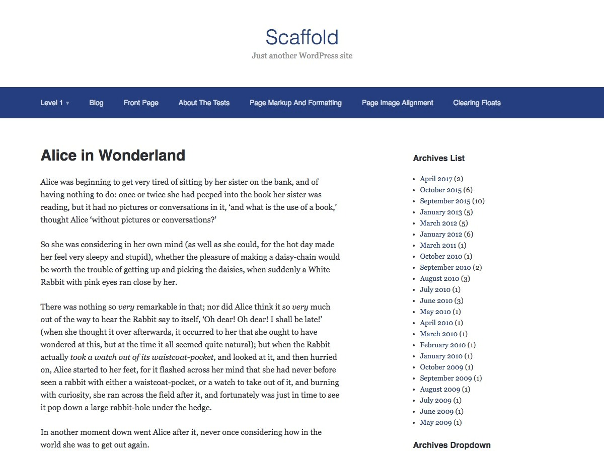 Scaffold free WordPress theme