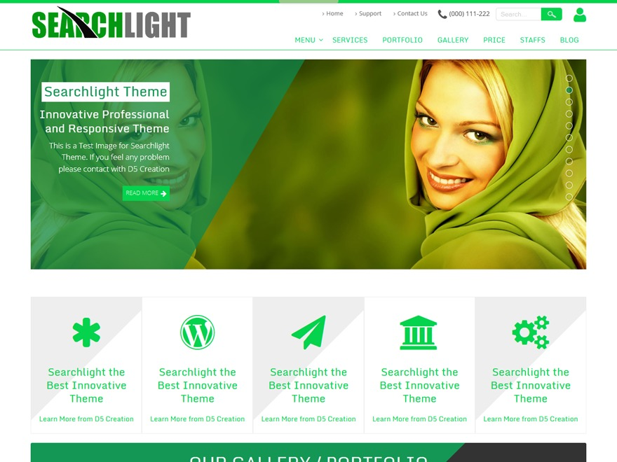 Searchlight Extend WordPress page template