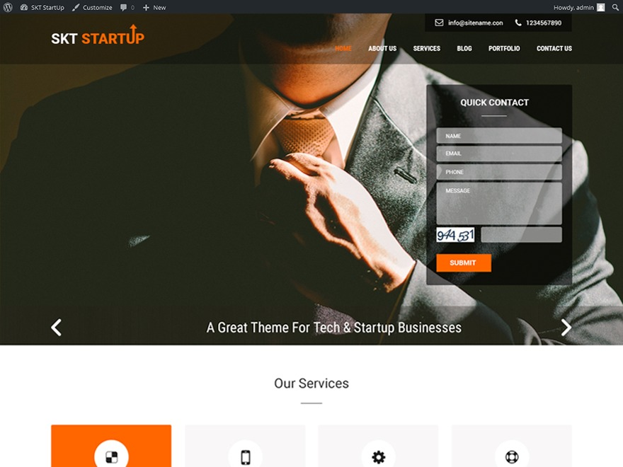 SKT Startup Pro WordPress template for business