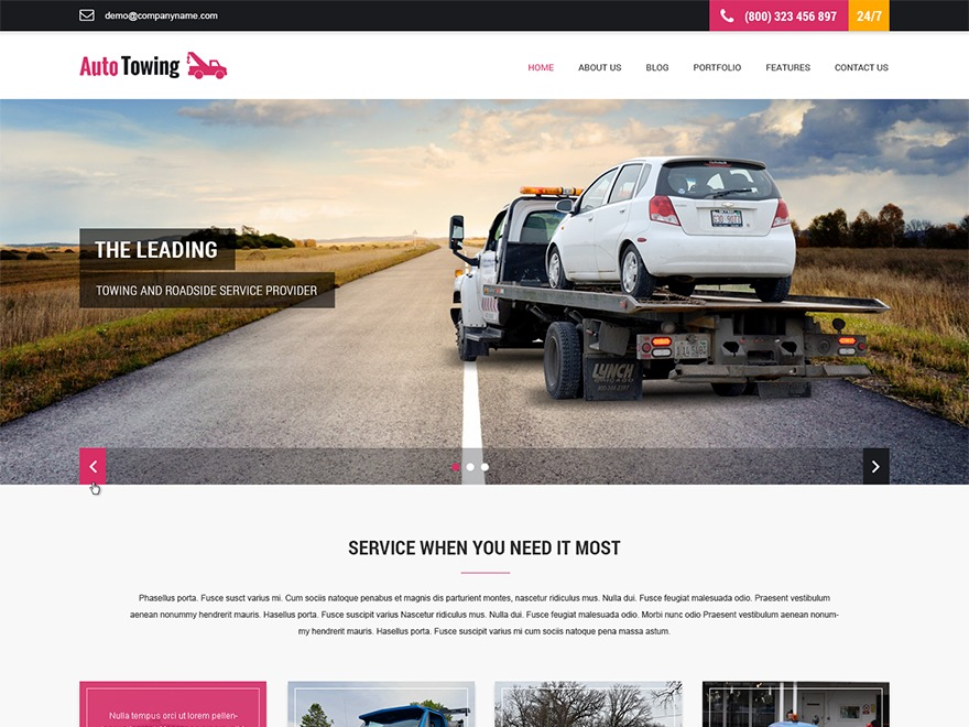 SKT Towing free WP theme
