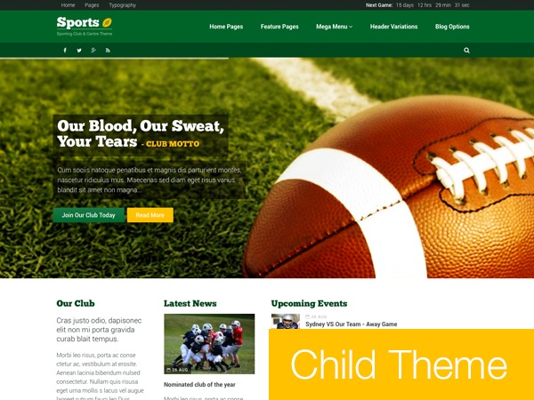 Sport Child Theme WordPress theme