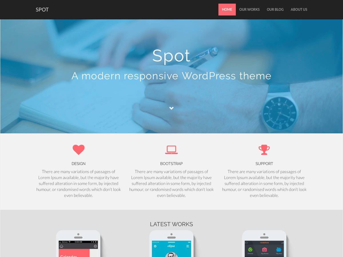 Spot template WordPress free
