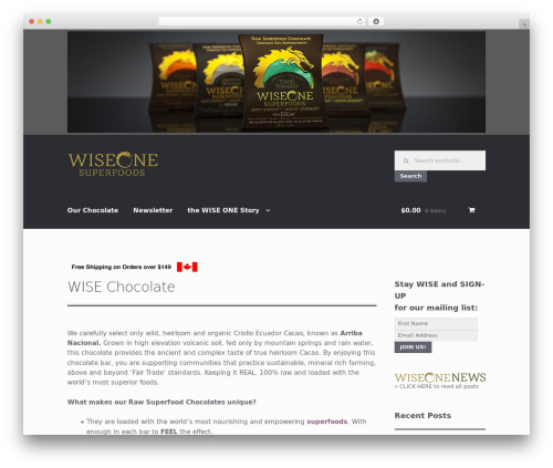Storefront free WP theme - wiseonesuperfoods.com