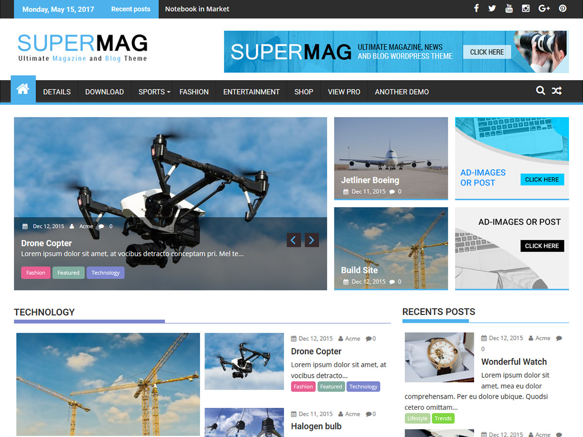 SuperMag free WordPress theme