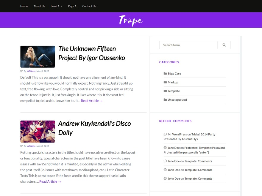 Trope template WordPress free