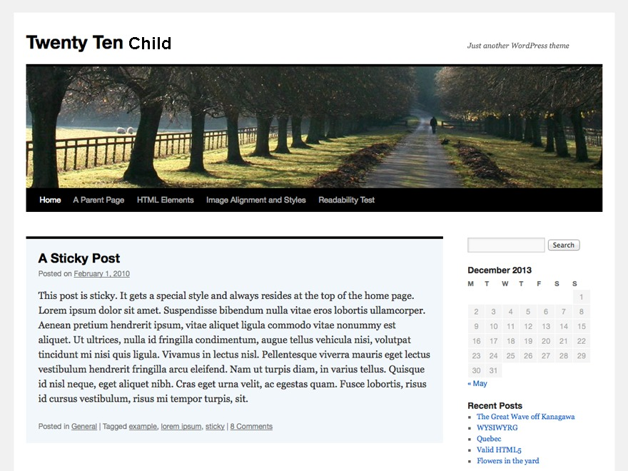 twentyten-child premium WordPress theme