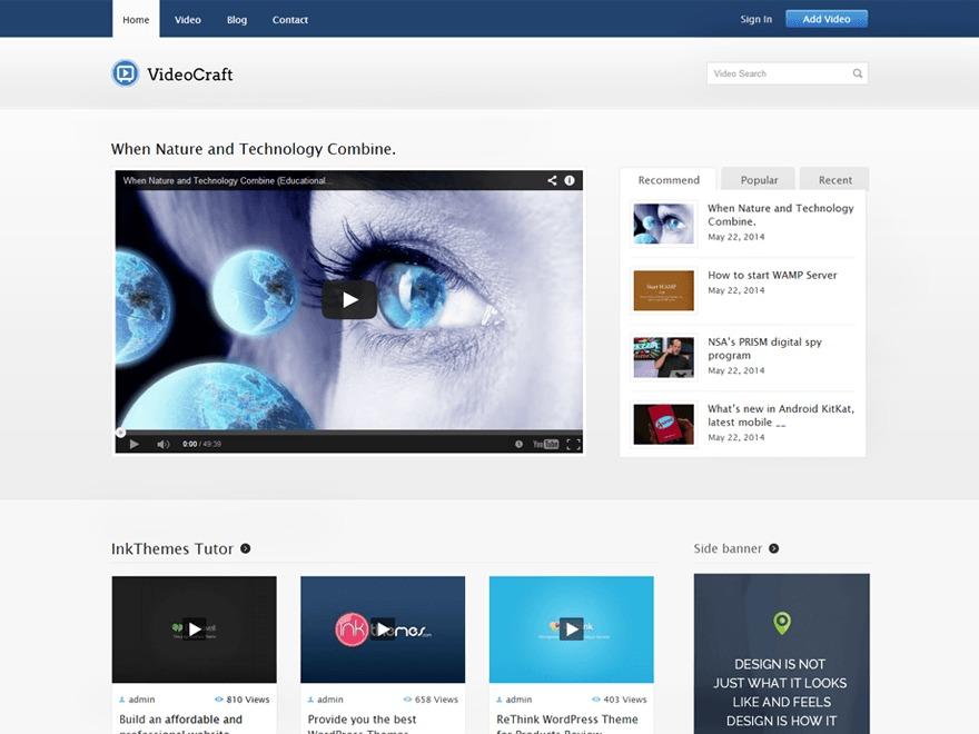 VideoCraft V2 WordPress video template