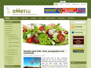 WordPress template eMenu