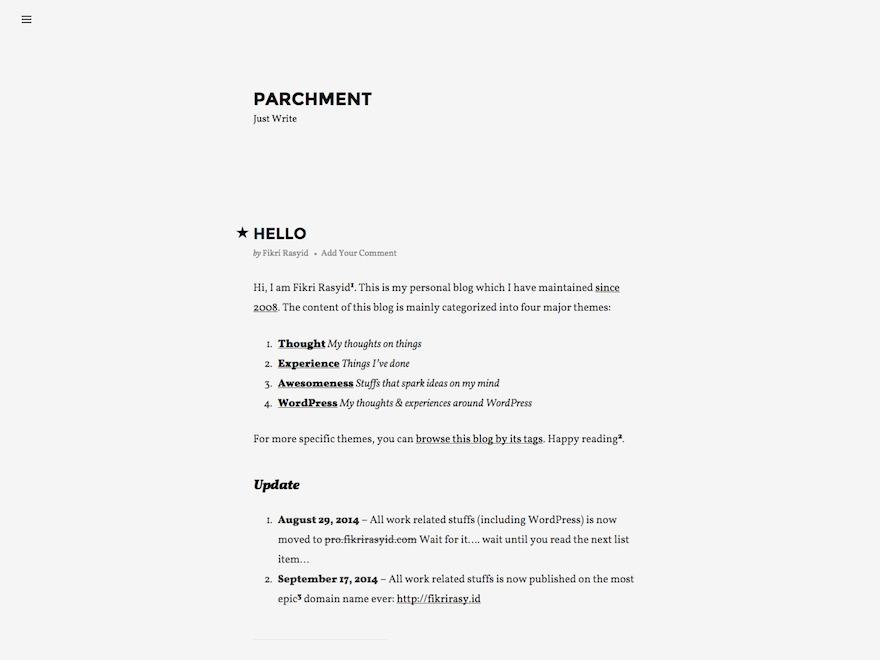 WordPress theme Parchment