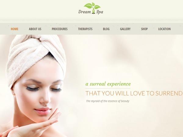 WordPress website template Dream Spa Child