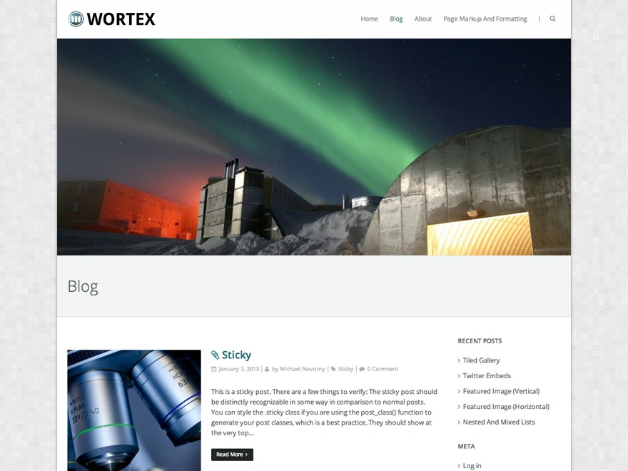 Wortex Lite free WordPress theme