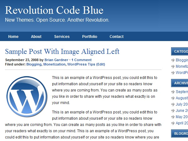 WP template Revolution Code Blue