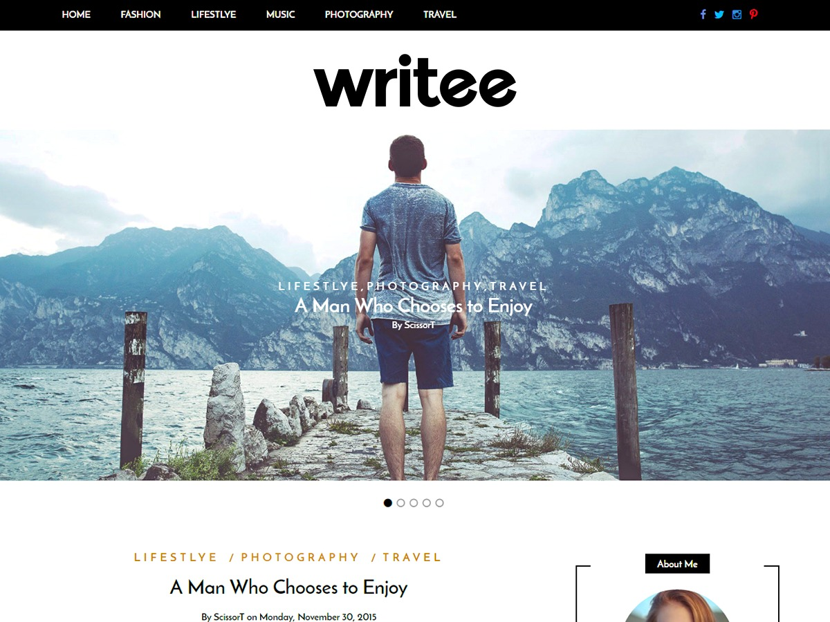 Writee photography WordPress theme