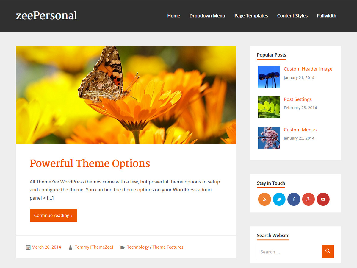 zeePersonal WordPress blog theme