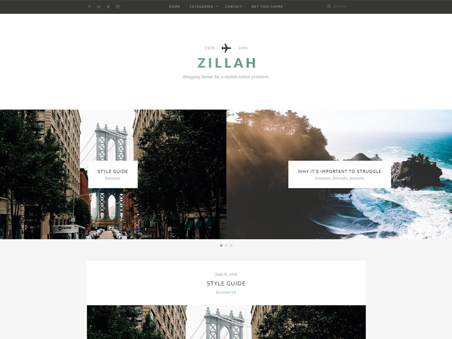 Zillah photography WordPress theme