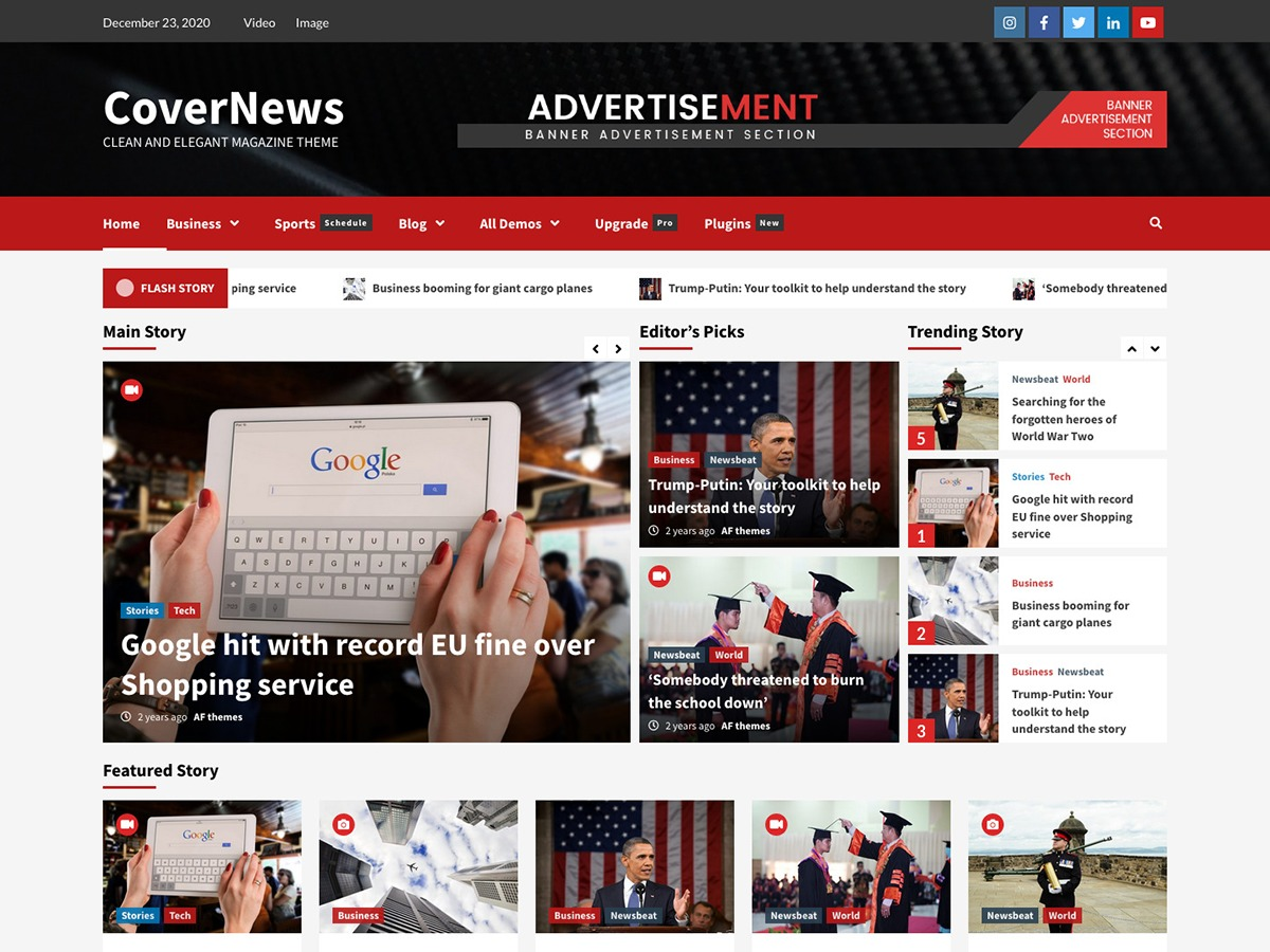 CoverNews WordPress template for business