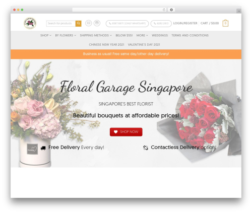Flatsome best WordPress theme - floralgaragesg.com