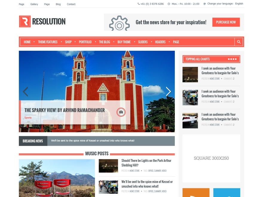 Resolution newspaper WordPress theme