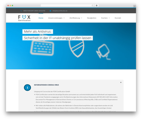 TheFox WordPress theme design - foxcertification.de