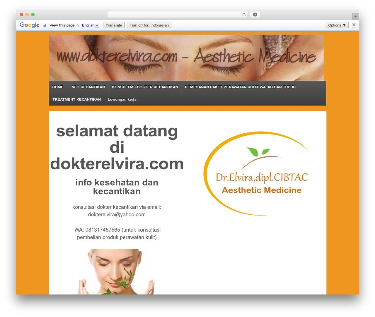 Responsive WordPress template free - dokterelvira.com