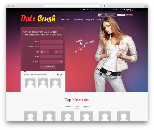 Sweetdate WordPress page template - date-crush.com