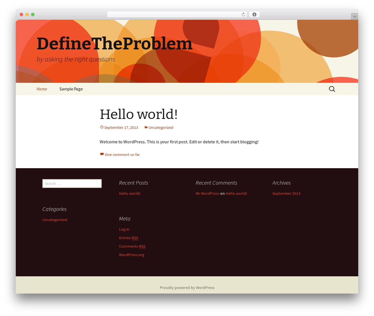 Twenty Thirteen free WordPress theme - definetheproblem.org