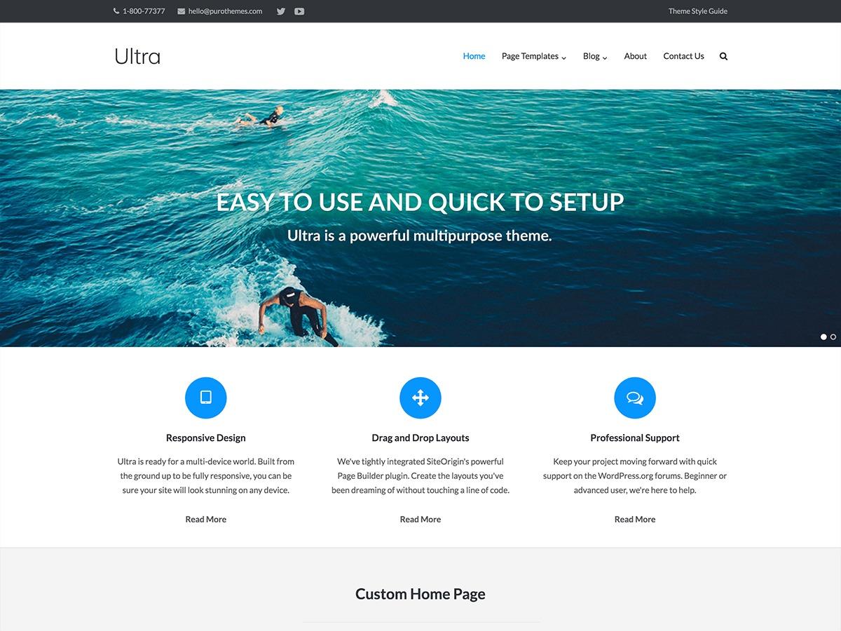 Ultra company WordPress theme