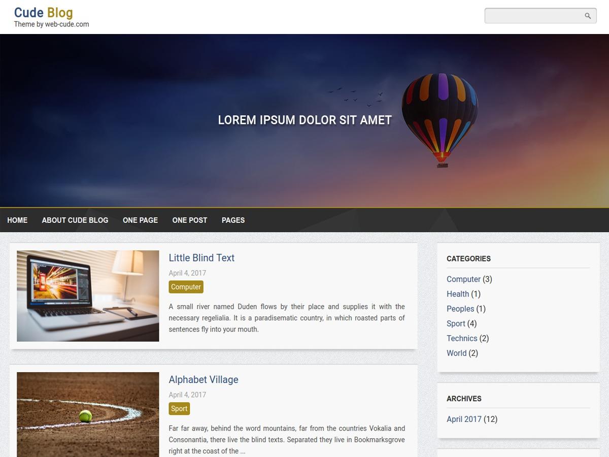 Cude Blog WordPress blog template