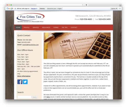 Customized business WordPress theme - foxcitiestax.com