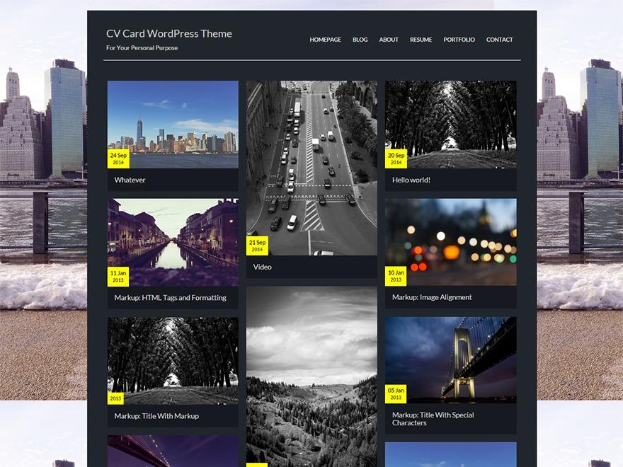 CV Card WordPress blog theme