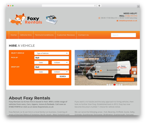 Foxy WordPress theme design - foxyrentals.co.uk