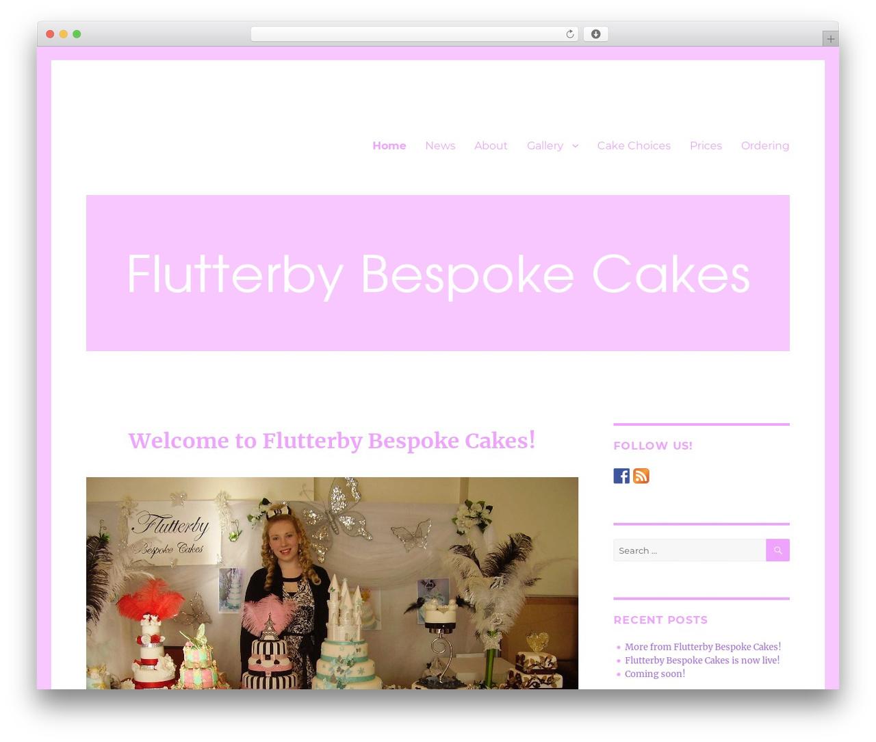 Twenty Sixteen free WP theme - flutterbybespokecakes.com