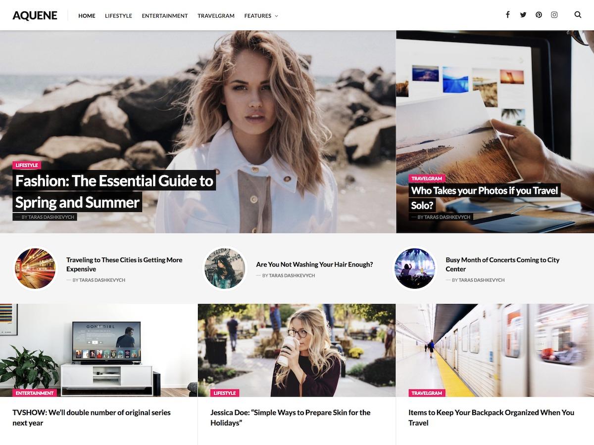 Aquene newspaper WordPress theme