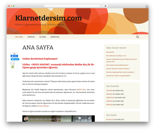 Twenty Thirteen best free WordPress theme - klarnetdersim.com