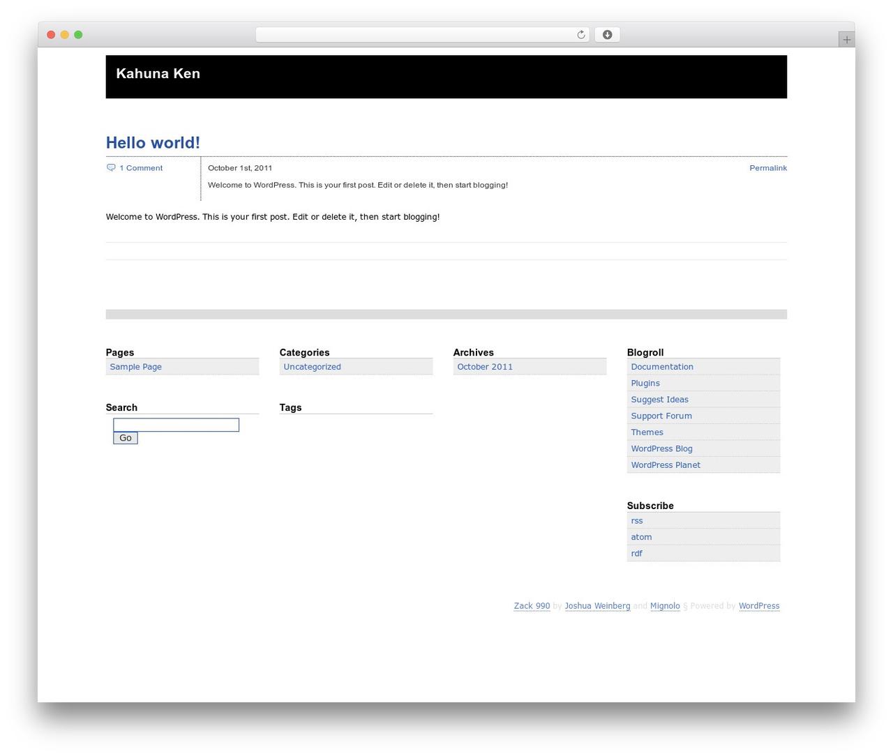 Zack 990 WordPress theme - kahunaken.com